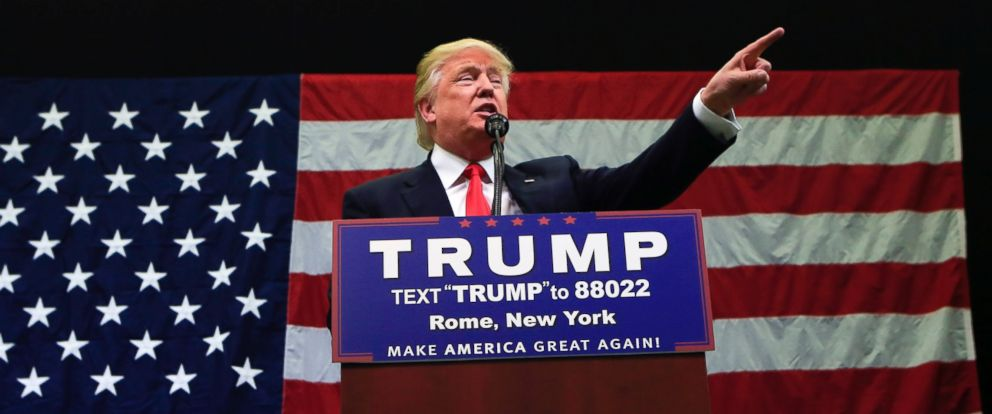PHOTO: Republican presidential candidate Donald Trump speaks during a rally at Griffiss International Airport on April 12, 2016, in Rome, New York.