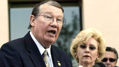 "PHOTO: Republican U.S. Rep. Randy ""Duke"" Cunningham and his wife Nancy, are shown during a news conference in this July 14, 2005, photo taken in San Marcos, Calif."