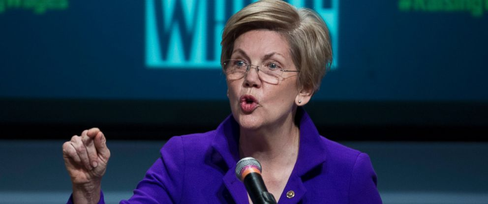 PHOTO: Sen. Elizabeth Warren, D-Mass. speaks about raising wages during the forum AFL-CIO National Summit, on Jan. 7, 2015, at Gallaudet University in Washington.