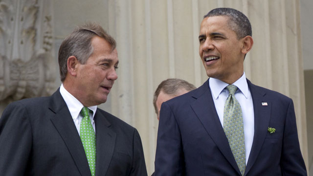 PHOTO: This March 20, 2012 file photo shows House Speaker John Boehner of Ohio and President Barack Obama walk down the steps of the Capitol in Washington.