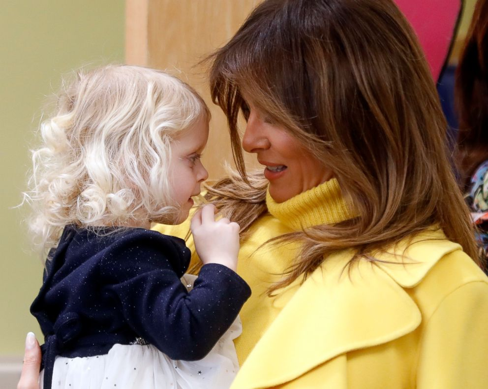 PHOTO: First lady Melania Trump meets with children during a visit to Cincinnati Childrens Hospital Medical Center, Monday, Feb. 5, 2018, in Cincinnati.
