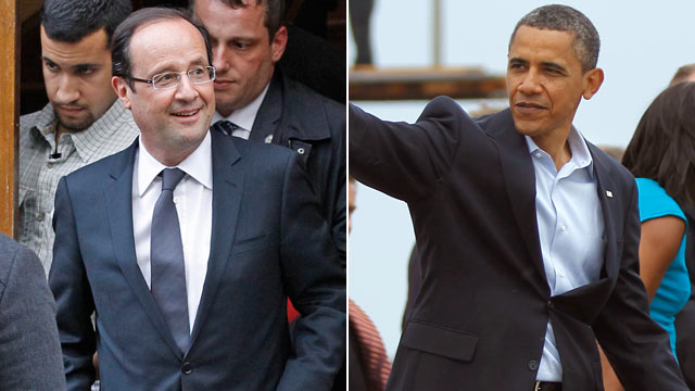 PHOTO:President-elect Francois Hollande leaves his campaign headquarters in Paris, left, President Barack Obama waves to a crowd before leaving the airport, in Richmond, Va.
