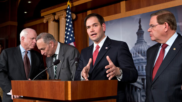 PHOTO: In this Jan. 28, 2013, file photo Sen. Marco Rubio, R-Fla., center,speaks at a Capitol Hill news conference with a bipartisan group of leading senators to announce their agreement on the principles of sweeping legislation to rewrite the nation's im