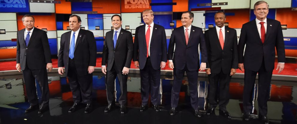 PHOTO: Ohio Gov. John Kasich, New Jersey Gov. Chris Christie, Sen. Marco Rubio, Donald Trump, Sen. Ted Cruz, retired neurosurgeon Ben Carson and former Florida Gov. Jeb Bush at the Republican presidential debate on Jan. 14, 2016, in North Charleston, S.C.