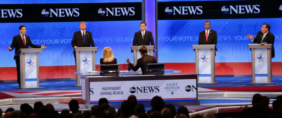 PHOTO: Republican presidential candidates, Sen. Marco Rubio, Donald Trump, Sen. Ted Cruz, Ben Carson and New Jersey Gov. Chris Christie during the Republican presidential debate on Feb. 6, 2016, in Manchester, N.H.