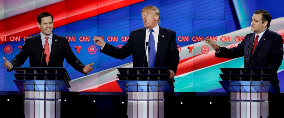PHOTO: Sen. Marco Rubio, Donald Trump and Sen. Ted Cruz speak and gesture during a Republican presidential primary debate at The University of Houston on Feb. 25, 2016, in Houston.