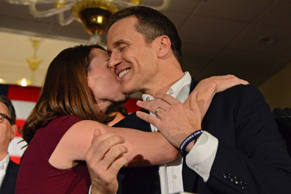 PHOTO: Missouri Republican Governor Eric Greitens hugs his wife Sheena as he delivers a victory speech Tuesday, Nov. 8, 2016, in Chesterfield, Mo.