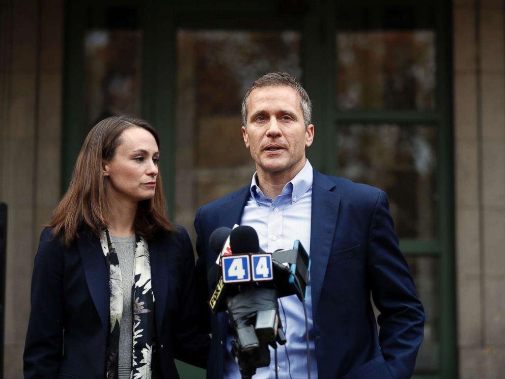 PHOTO: Then-Missouri Gov.-elect Eric Greitens and wife Sheena speak to the media Tues., Dec. 6, 2016, in St. Louis. Sheena Greitens was robbed at gunpoint while sitting in her car not far from from the familys St. Louis home.