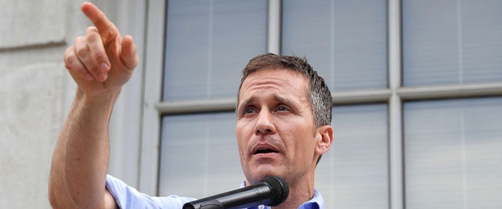 PHOTO: Missouri Gov. Eric Greitens speaks to supporters during a rally Tuesday, May 23, 2017, outside the state Capitol in Jefferson City, Mo.