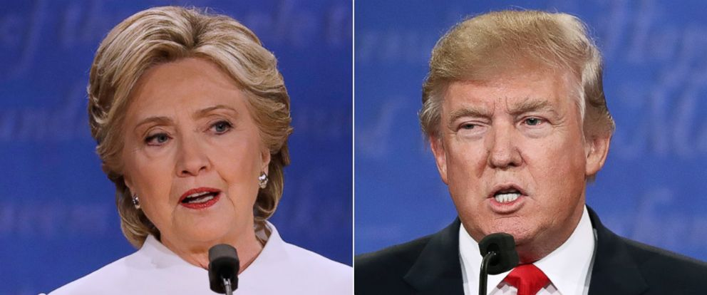 PHOTO: Hillary Clinton and Donald Trump during the third and final presidential debate in Las Vegas, Oct. 19, 2016.