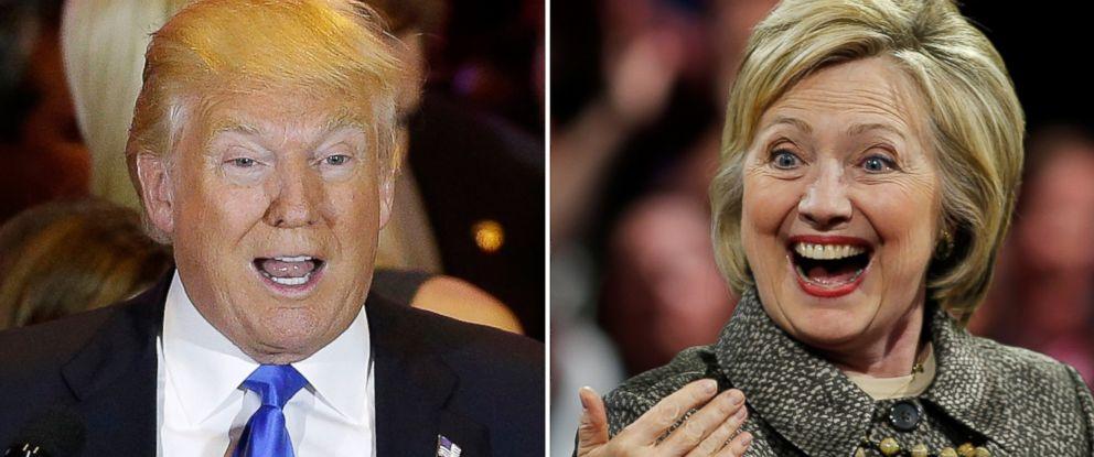 PHOTO: Donald Trump speaks in New York and Hillary Clinton speaks in Philadelphia on April 26, 2016.