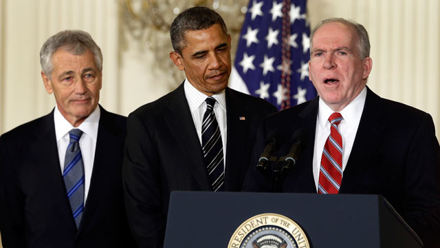 PHOTO: President Barack Obama and his choice for Defense Secretary, former Nebraska Sen. Chuck Hagel, left, listen as he choice for new CIA Director, current Deputy National Security Adviser for Homeland Security and Counterterrorism, John Brennan, speaks