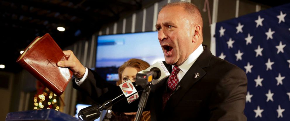 PHOTO: Then-Republican candidate Clay Higgins, with his wife, Becca, addresses supporters after his victory in Louisianas 3rd congressional district run-off election in Lake Charles, La., Saturday, Dec. 10, 2016.
