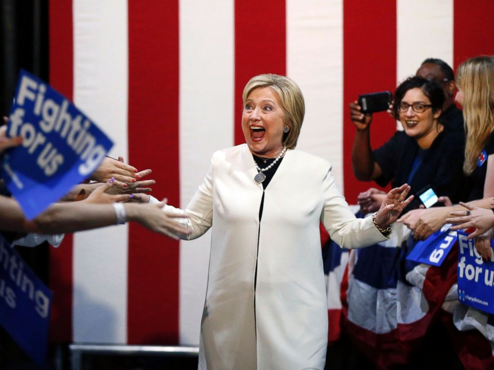 PHOTO: Democratic presidential candidate Hillary Clinton reacts to supporters as she arrives to speak at her Super Tuesday election night rally in Miami on March 1, 2016.