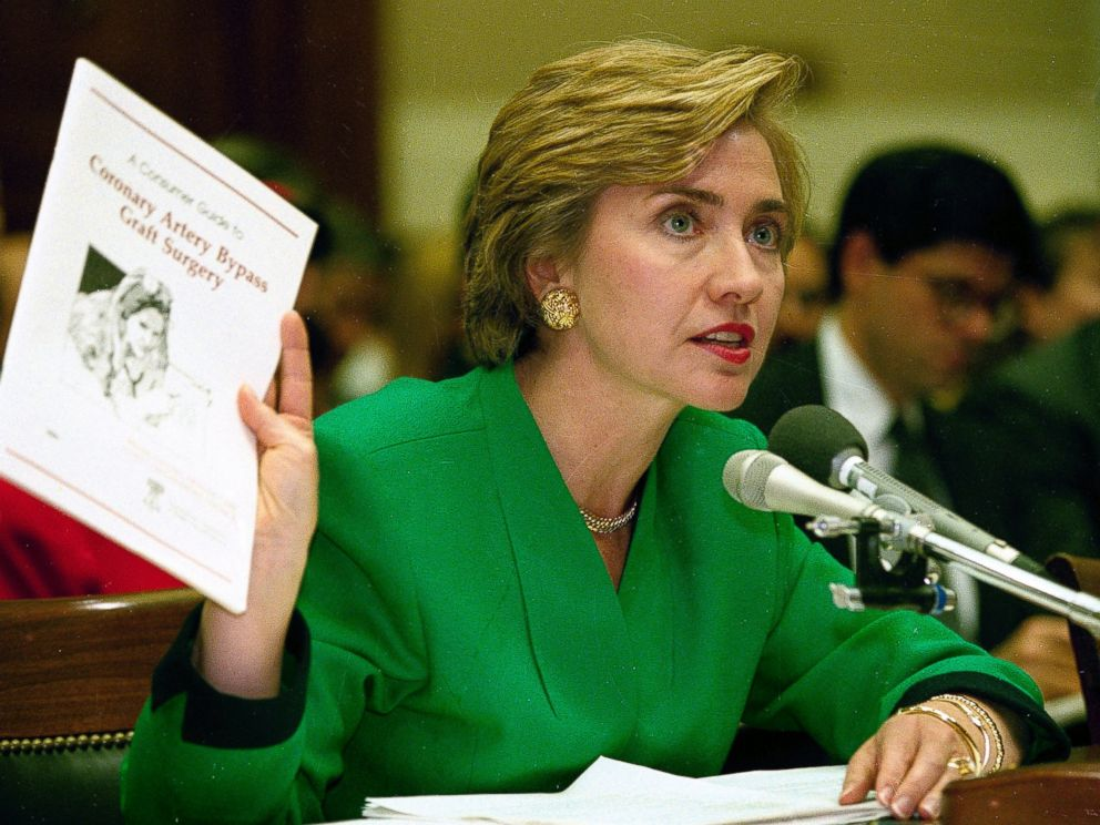 PHOTO: Then First Lady Hillary Rodham Clinton testifies on Capitol Hill before the House Energy Committee, Sept. 28, 1993.