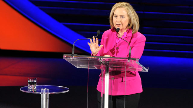 PHOTO: Former Secretary of State Hillary Rodham Clinton speaks at the Women in the World Conference, April 5, 2013, in New York.