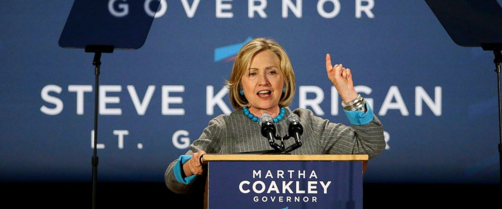 PHOTO: Former Secretary of State Hillary Rodham Clinton speaks to supporters of Massachusetts Democratic gubernatorial candidate Martha Coakley during a Coakley campaign event at the Park Plaza Hotel in Boston, Oct. 24, 2014.