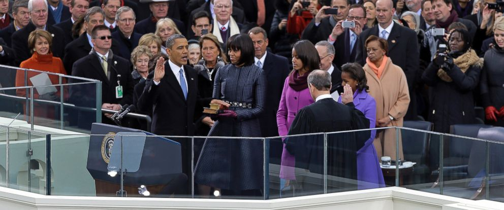 PHOTO: President Barack Obama receives the oath of office from Chief Justice John Roberts as first lady Michelle Obama looks on at the U.S. Capitol during the 57th Presidential Inauguration in Washington, Jan. 21, 2013.