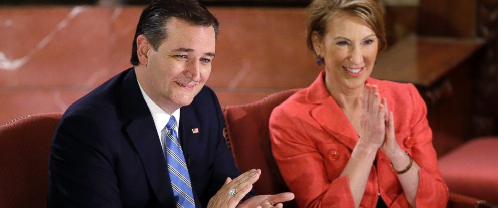 PHOTO: Presidential candidate, Ted Cruz and vice-presidential candidate Carly Fiorina applaud during a campaign event at The Indiana War Memorial, April 29, 2016, in Indianapolis.
