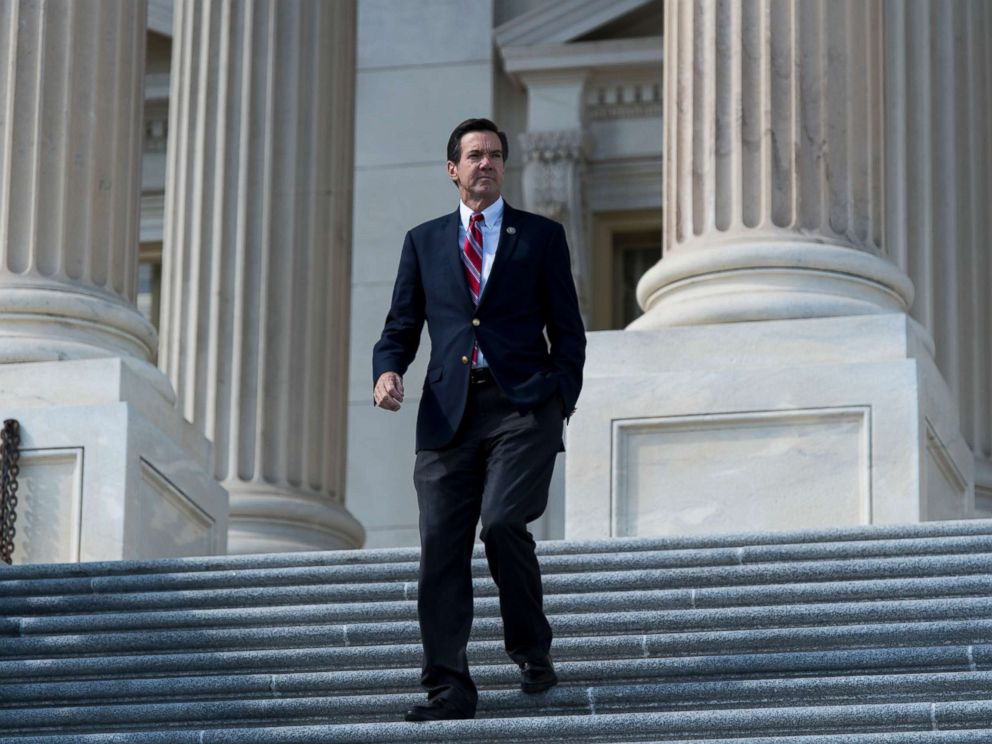 PHOTO: Rep. Evan Jenkins, R-W.Va., walks down the House steps after the last votes of the week on Thursday, Oct. 5, 2017.