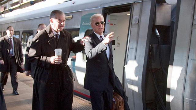 PHOTO: Vice President Joe Biden, right, and Transportation Secretary Ray LaHood, left, walk to a train at Union Station in Washington, Feb. 8, 2011.
