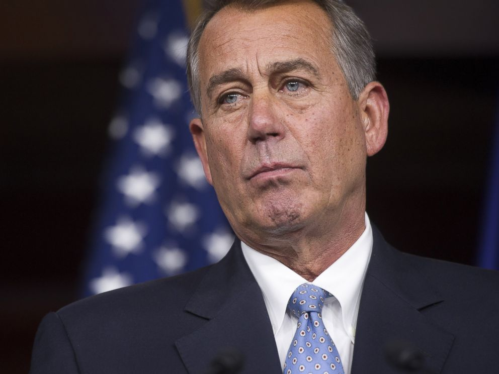 PHOTO: House Speaker John Boehner of Ohio listens during a news conference on Capitol Hill in Washington, Nov. 6, 2014.