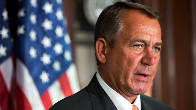 PHOTO: House Speaker John Boehner of Ohio speaks about the Boston Marathon explosions during a news conference with House Republican Leadership, on Capitol Hill in Washington, April 16, 2013.
