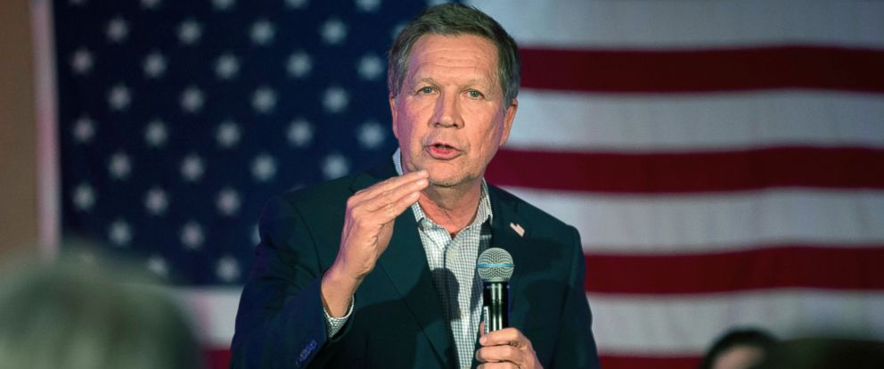 PHOTO: Republican presidential candidate, Ohio Gov. John Kasich speaks during a campaign rally in Wakefield, Mass., Feb. 20, 2016.