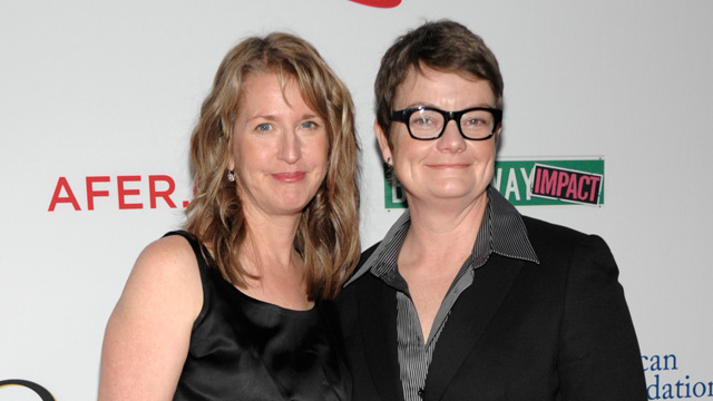 """PHOTO: Sandy Stier, left, and Kris Perry arrive at the Los Angeles premiere of the play """"8"""" in Los Angeles, March 3, 2012."""