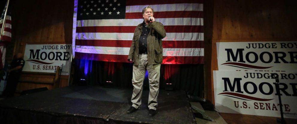 PHOTO: Former White House strategist Steve Bannon speaks at a rally for U.S. Senate hopeful Roy Moore, Monday, Sept. 25, 2017, in Fairhope, Ala.