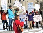 PHOTO: Kris Kitko leads chants of protest at an abortion-rights rally at the state Capitol in Bismarck, N.D., March 25, 2013.