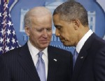 PHOTO:President Barack Obama and Vice President Joe Biden walk away from the podium after Obama made a statement regarding the passage of the fiscal cliff bill in the Brady Press Briefing Room at the White House in Washington, Tuesday, Jan. 1, 2013.