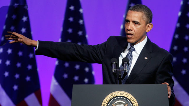 PHOTO: President Barack Obama gestures as he speaks at The Associated Press luncheon during the ASNE Convention on April 3, 2012, in Washington.