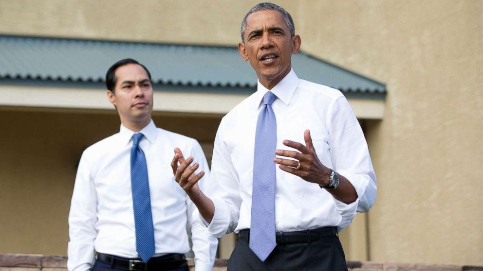 President Barack Obama, joined by Housing and Urban Development Secretary Julian Castro speaks outside a home in a housing development in Phoenix, Jan. 8, 2015.