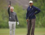 PHOTO: President Barack Obama, right, with Sen. Bob Corker, R-Tenn., left, on the first hole of the golf course at Andrews Air Force Base, May 6, 2013.