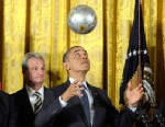PHOTO: President Barack Obama bounces a soccer ball off of his head during an event to honor the 2012 championship seasons of the Stanley Cup champion Los Angeles Kings hockey team and the Major League Soccer champion Los Angeles Galaxy, March 26, 2013, i