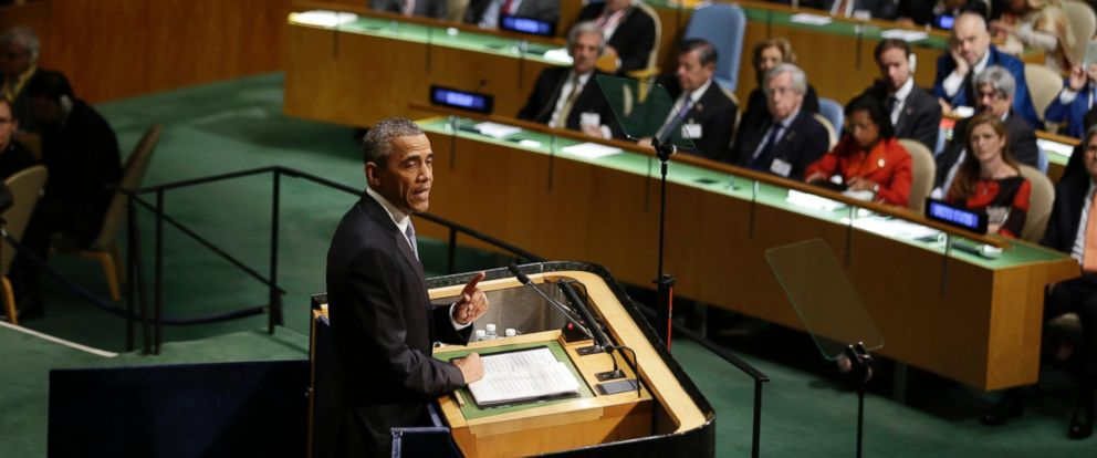 PHOTO: President Barack Obama speaks during the 70th session of the United Nations General Assembly at U.N. headquarters, Sept. 28, 2015.