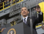 PHOTO: President Barack Obama speaks at the Newport News Shipbuilding, Feb. 26, 2013, as part of his public campaign to sway Congress to block automatic spending cuts that are scheduled to begin on March 1, in defense and domestic programs.