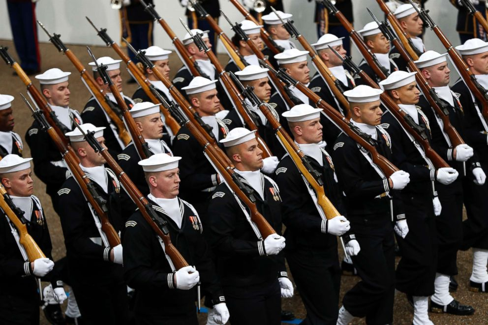 PHOTO: Military units march during the 58th Presidential Inauguration parade for President Donald Trump in Washington. Friday, Jan. 20, 2017.