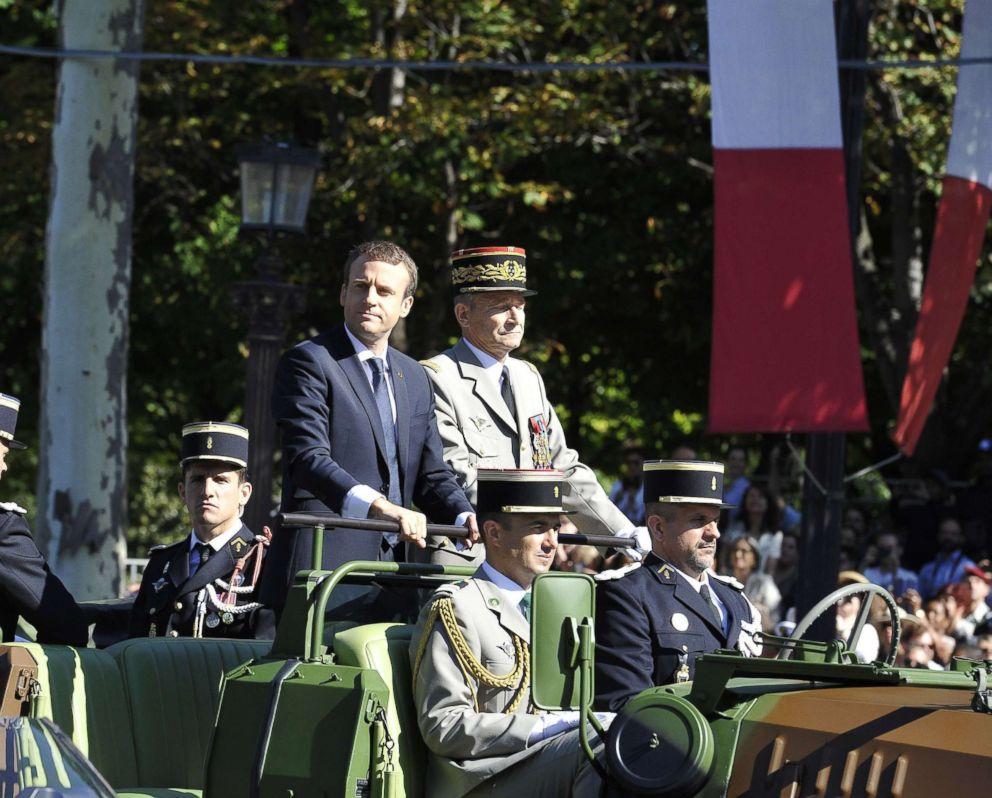 PHOTO: President Emmanuel Macron goes down Avenue Champs Elysee alongside General Pierre de Villiers. Bastille day in Paris, France on July 14, 2017.