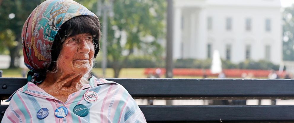 PHOTO: Concepcion Picciotto, who held a constant peace vigil in Lafayette Park across from the White House in Washington, D.C. for over 30 years, sits on a park bench, Sept. 12, 2013.