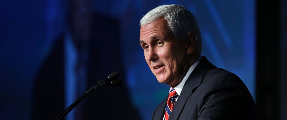 PHOTO: Republican vice presidential candidate, Indiana Gov. Mike Pence speaks at the American Legislative Exchange Council annual meeting in Indianapolis, Friday, July 29, 2016.