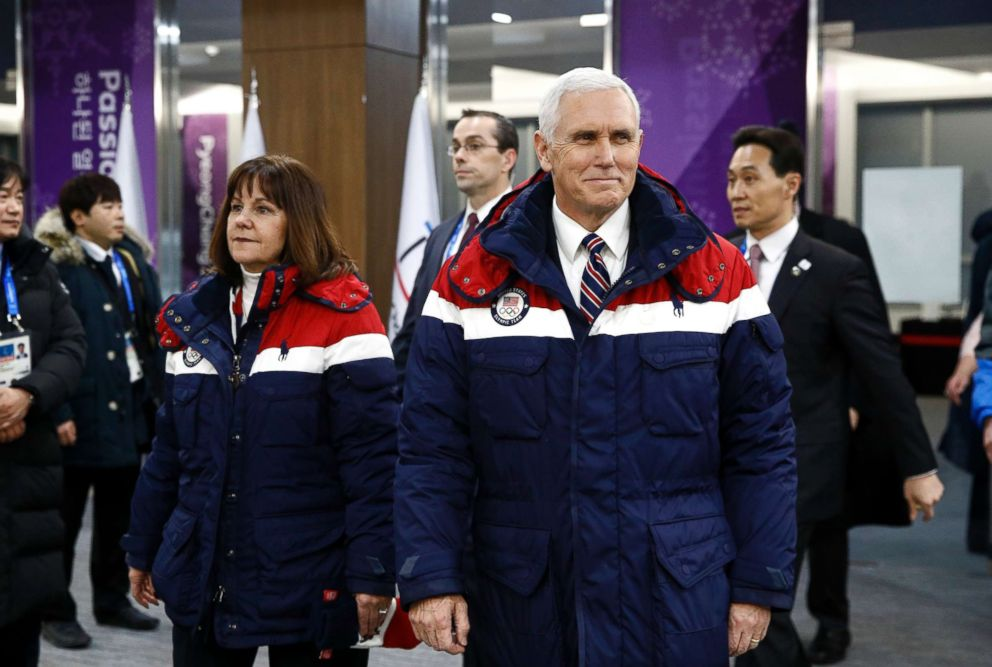 PHOTO: Vice President Mike Pence, right, walks to his seat alongside second lady Karen Pence at the opening ceremony of the 2018 Winter Olympics in Pyeongchang, South Korea, Friday, Feb. 9, 2018.