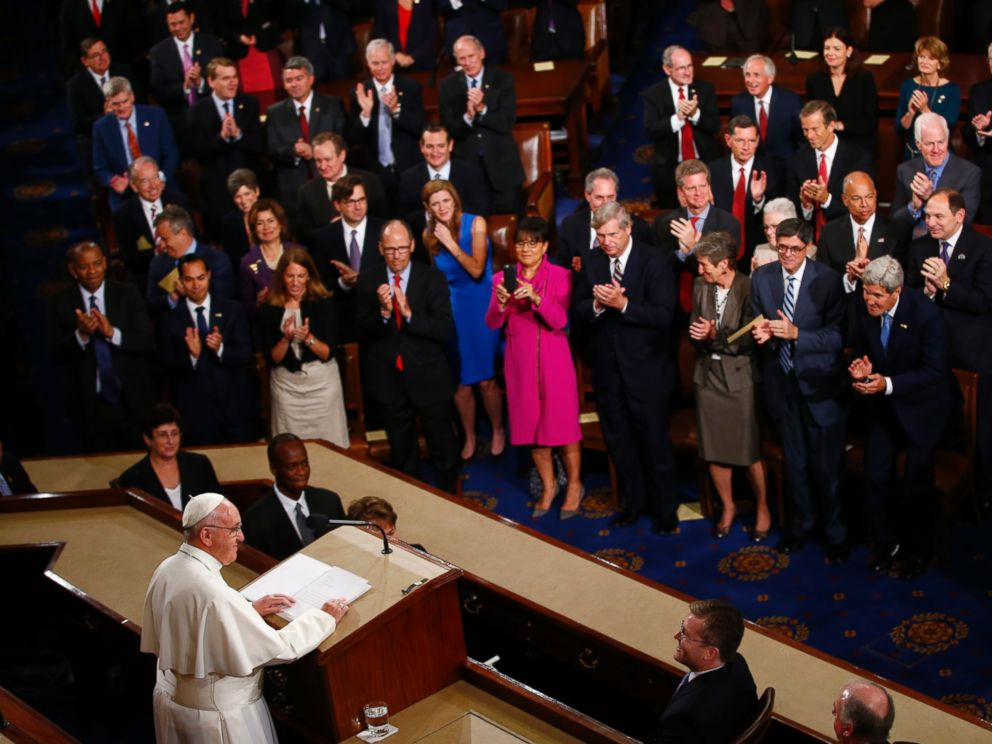 PHOTO: Pope Francis listens to applause as he addresses a joint meeting of Congress on Capitol Hill in Washington, Sept. 24, 2015.