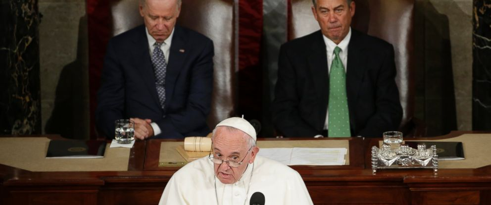 PHOTO: Pope Francis addresses a joint meeting of Congress on Capitol Hill in Washington, Sept. 24, 2015.