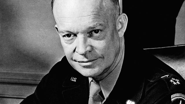 PHOTO: General Dwight D. Eisenhower, seen here as the Supreme Allied Commander at his desk in the European Theater of Operations on February 1, 1945, later became the President of the United States in 1951.