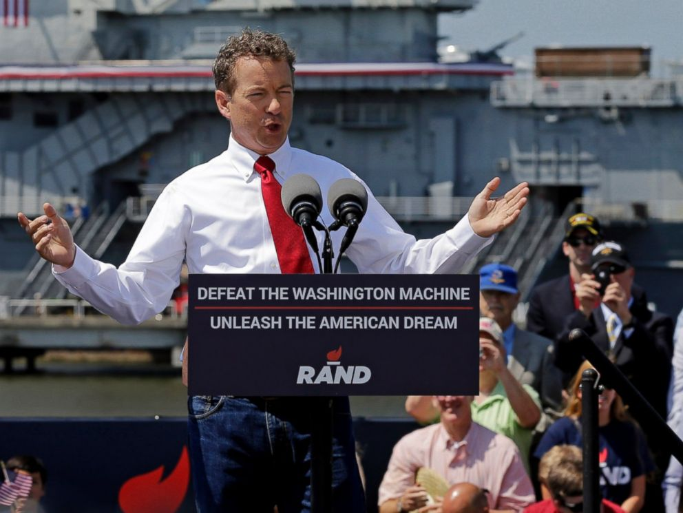 PHOTO: Republican Presidential candidate, Sen. Rand Paul, R-Ky., speaks at a rally at the USS Yorktown in Mount Pleasant, S.C., April 9, 2015.