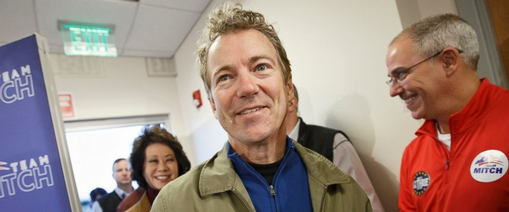 PHOTO: Sen. Rand Paul arrives in his hometown, Bowling Green, Ky. on Nov. 3, 2014.