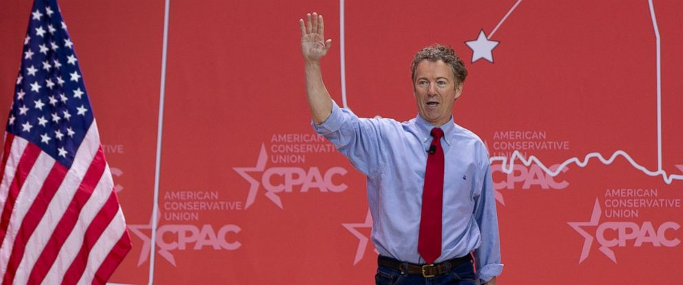 PHOTO: Sen. Rand Paul, R-Ky., waves as he arrives to speak during the Conservative Political Action Conference (CPAC) in National Harbor, Md., on Feb. 27, 2015.