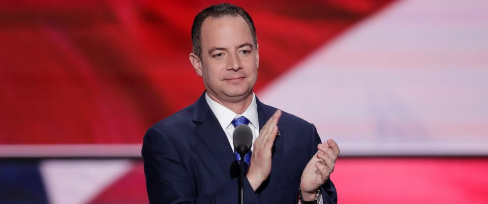 PHOTO: Reince Priebus, Chairman of the Republican National Committee, applauds the people of Cleveland before speaking during the final day of the Republican National Convention in Cleveland, Ohio, July 21, 2016.